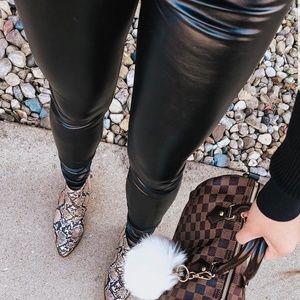 High Waisted Vegan Leather Leggings Black